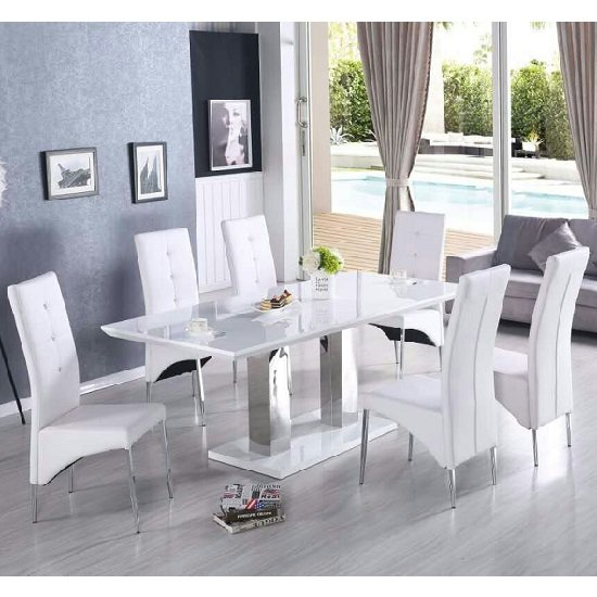 Monton Extendable Large Dining Table White Gloss 8 Vesta Chairs_3