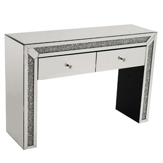 Montrez Mirrored Rectangular Console Table With 2 Drawers