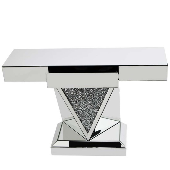 Montrez Mirrored Console Table With Drawer And Glass Crystals