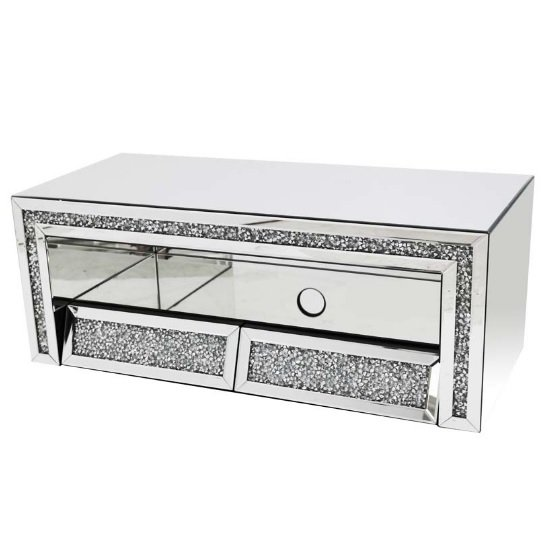 Montrez Mirrored TV Stand Angled With 2 Drawers