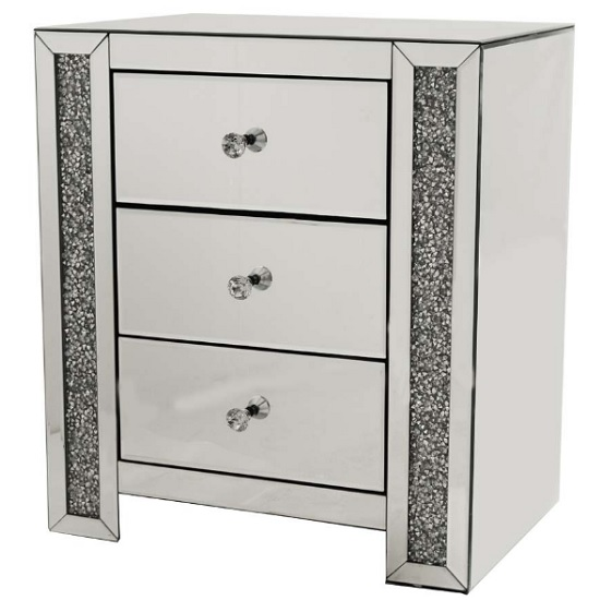 Montrez Mirrored Bedside Cabinet With 3 Drawers