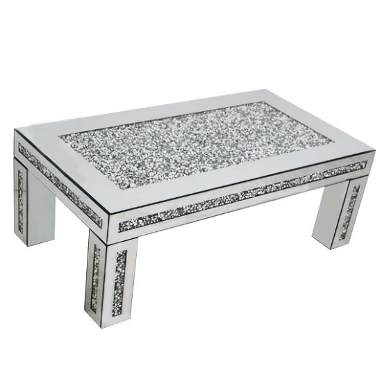 View Montrez mirrored rectangular coffee table with crystals