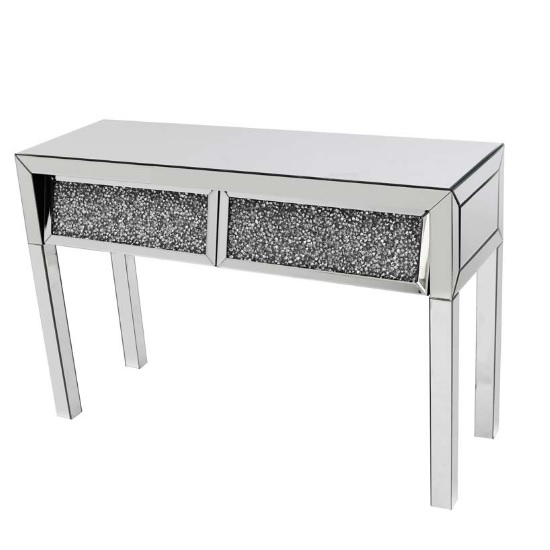 Montrez Mirrored Console Table Angled With 2 Drawers