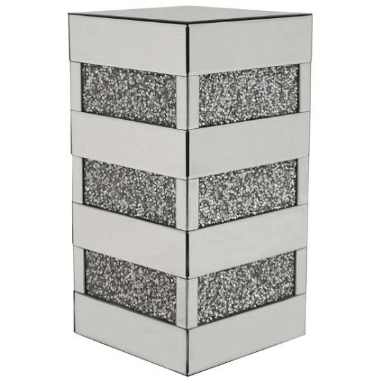 Montrez Mirrored Square Side Table With Diamond Like Crystals