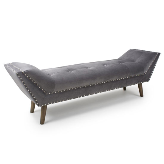 Montrose Large Brushed Velvet Chaise In Grey With Wooden Feet