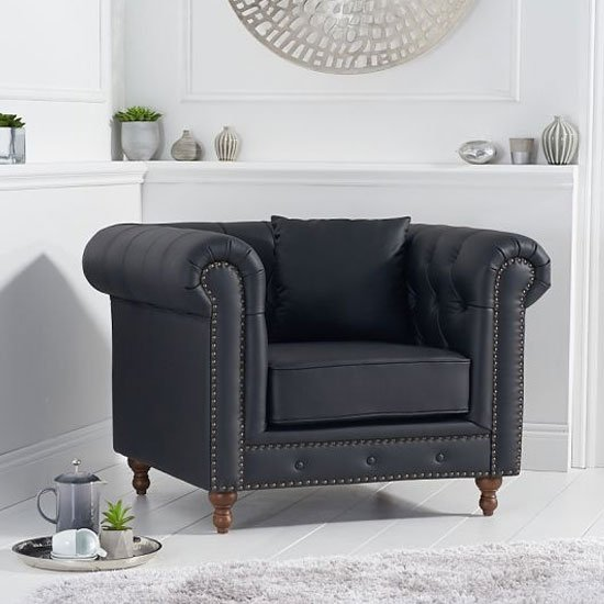 Montrose Leather Armchair In Black