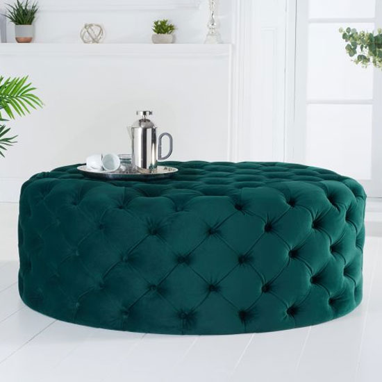 Montrose Velvet Large Round Footstool In Green
