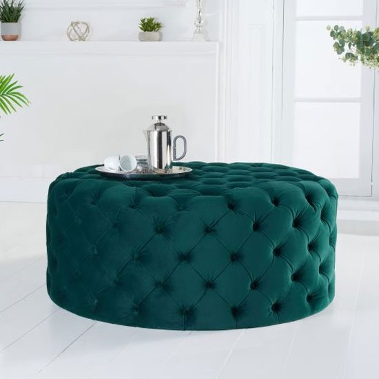 Montrose Velvet Small Round Footstool In Green