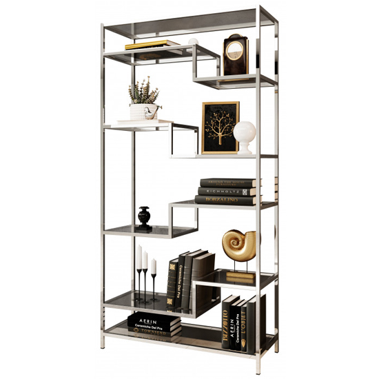 Monza Clear Glass Display Stand In Silver Stainless Steel Frame_2