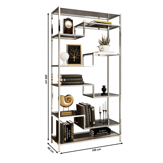 Monza Clear Glass Display Stand In Silver Stainless Steel Frame_4
