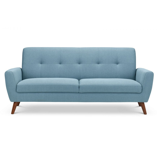 Monza Linen Compact Retro 3 Seater Sofa In Blue_2