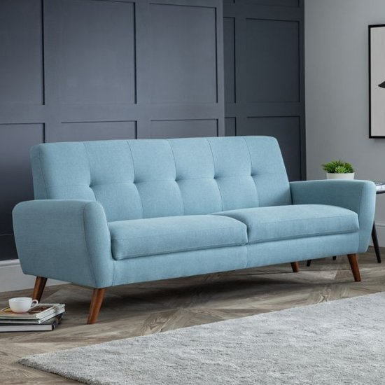 Monza Linen Compact Retro 3 Seater Sofa In Blue_1