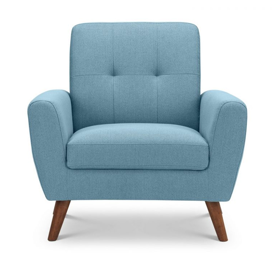 Monza Linen Compact Retro Lounge Chaise Armchair In Blue_2