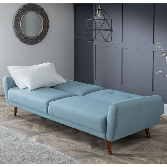 Monza Linen Compact Retro Sofabed In Blue
