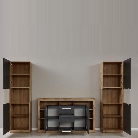 Monza Living Room Set In Wotan Oak And Matera With LED_2