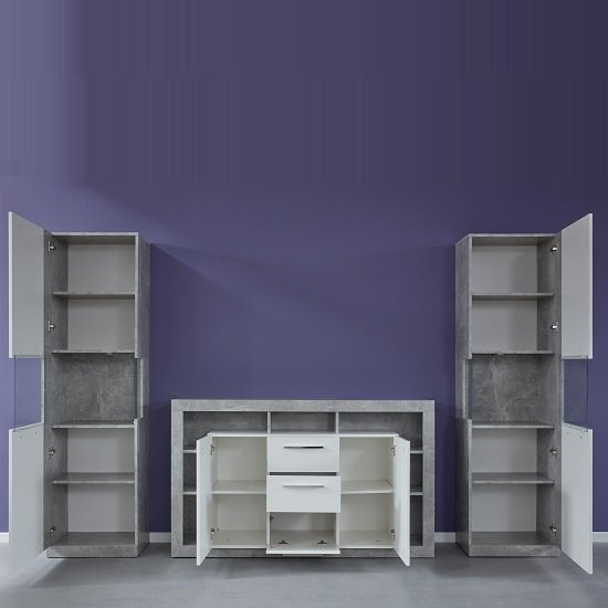 Monza Living Room Set In Grey With Gloss White Fronts And LED_2
