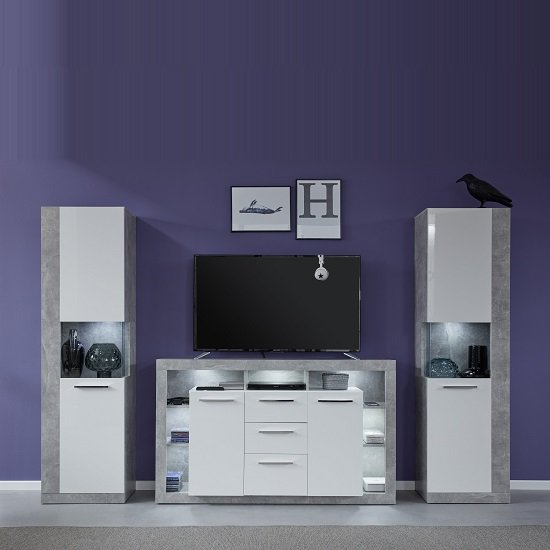 Monza Living Room Set In Grey With Gloss White Fronts And LED_1