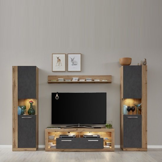 Monza Living Room Set 1 In Wotan Oak And Matera With LED_2