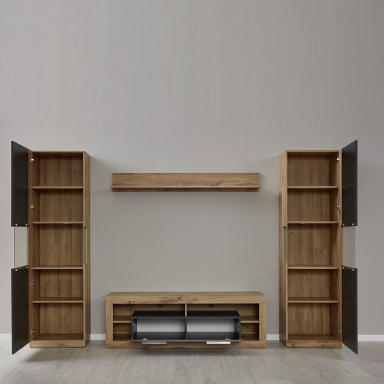 Monza Living Room Set 1 In Wotan Oak And Matera With LED_3