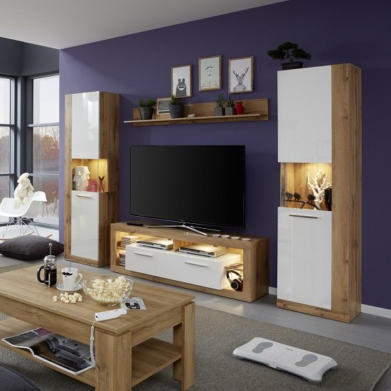Monza Living Room Set 1 In Wotan Oak Gloss White Fronts LED