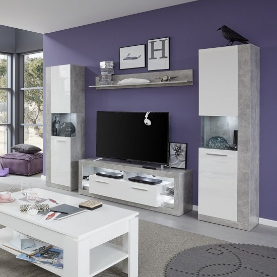Monza Living Room Set 1 In Grey Gloss White Fronts With LED