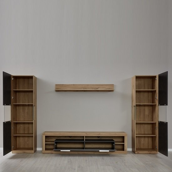 Monza Living Room Set 2 In Wotan Oak And Matera With LED_2