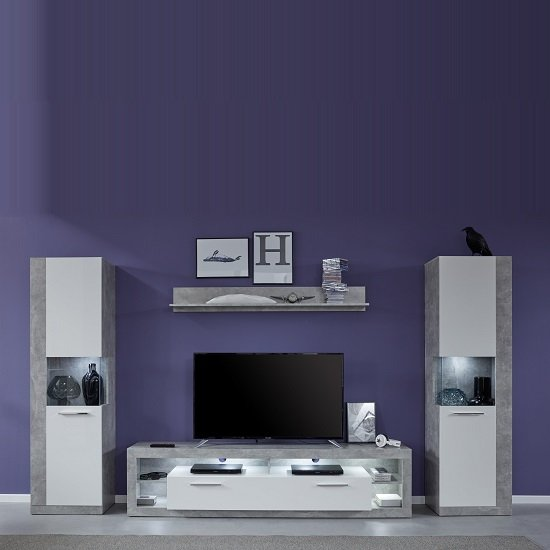 Monza Living Room Set 2 In Grey Gloss White Fronts With LED_1