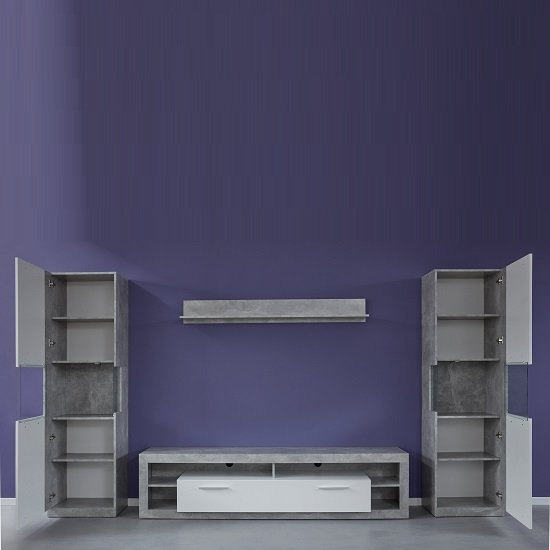 Monza Living Room Set 2 In Grey Gloss White Fronts With LED_2