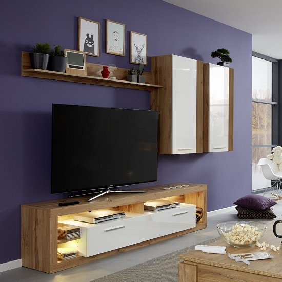 Monza Living Room Set 3 In Wotan Oak Gloss White Fronts LED_1