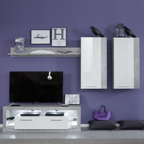 Monza Living Room Set 4 In Grey Gloss White Fronts With LED