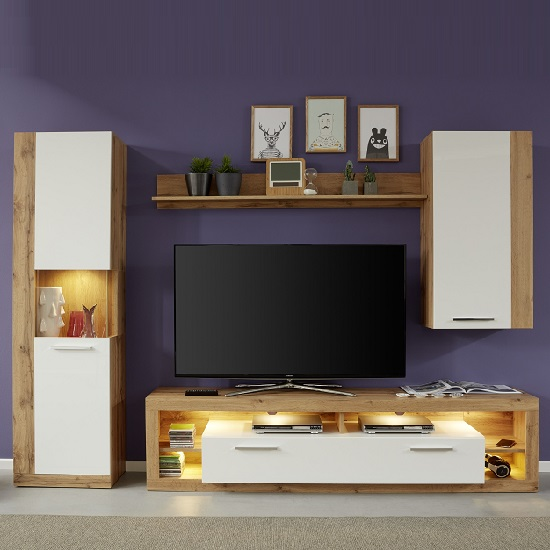 Monza Living Room Set 5 In Wotan Oak Gloss White Fronts LED_2