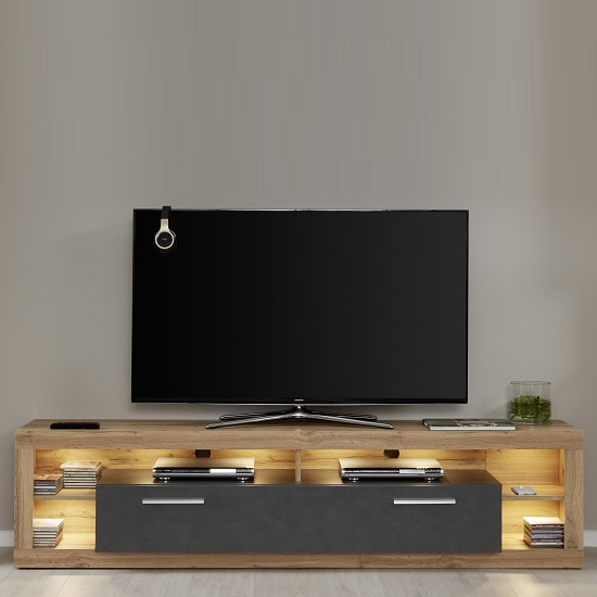 Monza Lowboard TV Stand In Wotan Oak And Matera With LED