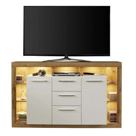 Monza Wooden Tv Sideboard In Wotan Oak And White With LED
