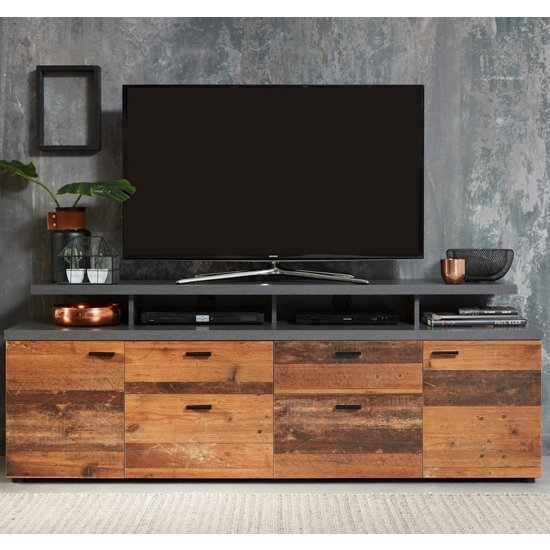Mood Wooden TV Stand In Matera With 4 Doors And 2 Drawers