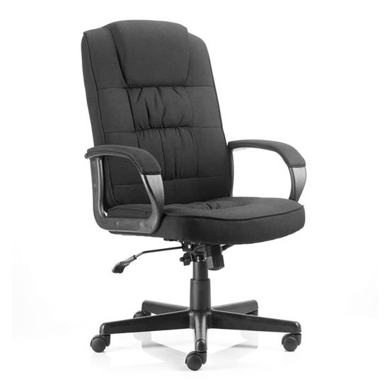 Moore Fabric Executive Office Chair In Black With Arms_1
