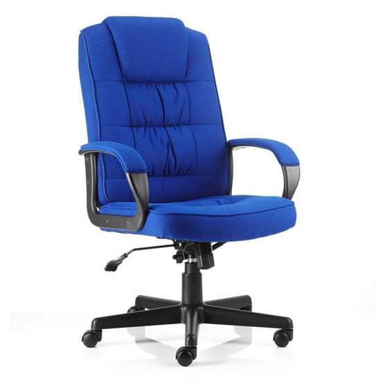 Moore Fabric Executive Office Chair In Blue With Arms