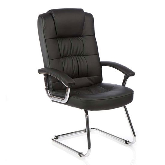 Moore Leather Deluxe Visitor Chair In Black With Arms