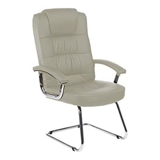 Moore Leather Deluxe Visitor Chair In White With Arms