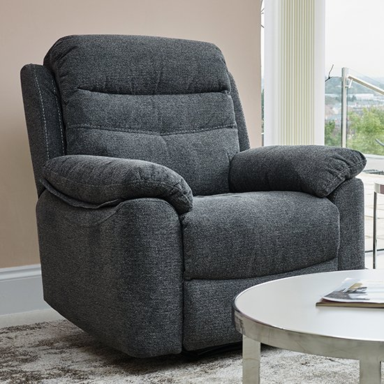 Moorgate Fabric Recliner 1 Seater Sofa In Nickel