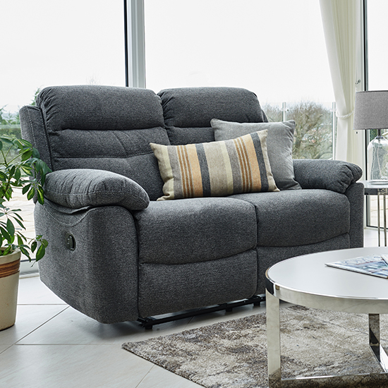 Moorgate Fabric Recliner 2 Seater Sofa In Nickel