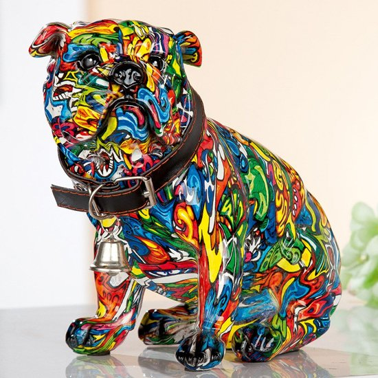 Mops Sitting Pop Art Poly Design Sculpture In Multicolor
