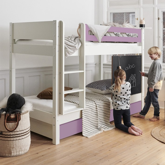 Morden Kids Bunk Bed With Safety Rail And Drawers In Dusty Rose