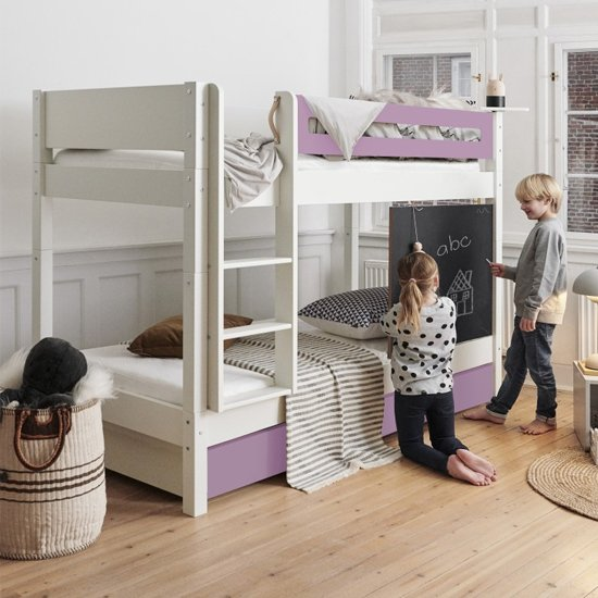 Morden Kids Wooden Bunk Bed With Safety Rail In Dusty Rose_1