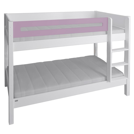 Morden Kids Wooden Bunk Bed With Safety Rail In Dusty Rose_3
