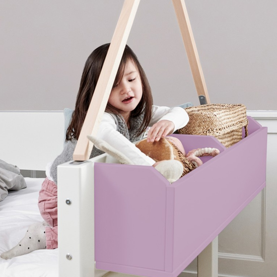 Morden Kids Wooden Bunk Bed With Safety Rail In Dusty Rose_5