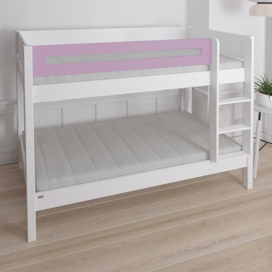 Morden Kids Wooden Bunk Bed With Safety Rail In Dusty Rose_2