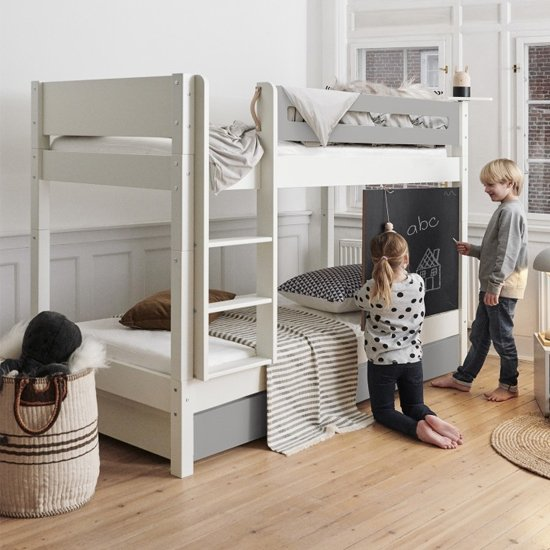 Morden Kids Wooden Bunk Bed With Safety Rail In Silver Grey