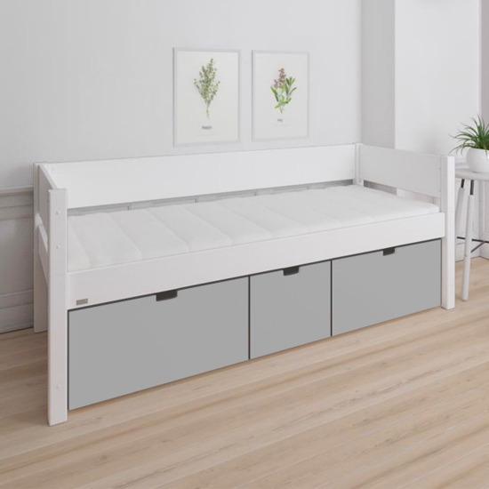 Product photograph showing Morden Kids Wooden Day Bed With 3 Drawers In Silver Grey
