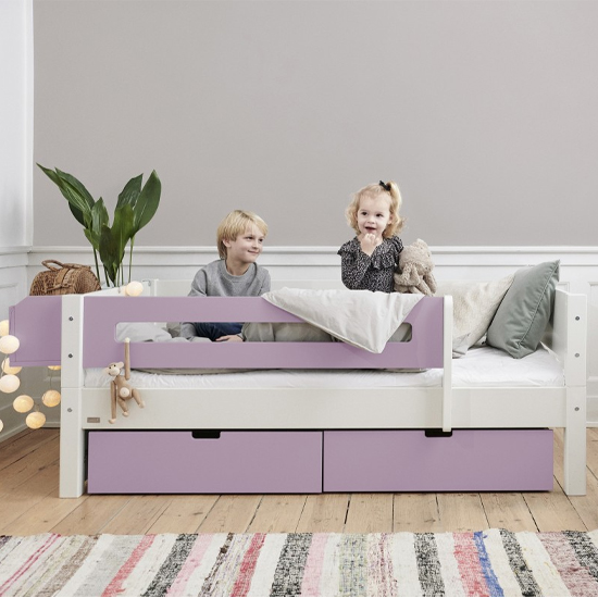 Morden Kids Day Bed With Safety Rail And Drawers In Dusty Rose