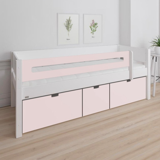Morden Kids Day Bed With Saftey Rail 3 Drawers In Light Rose